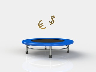Euro, Dollar Jumping on a trampoline on a white background