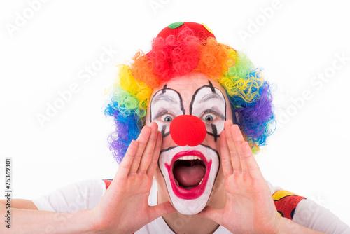 Fotobehang Carnaval clown macht eine durchsage
