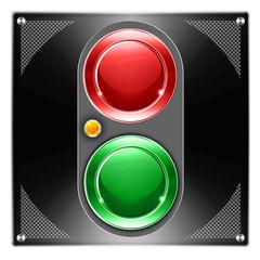 Powerknopf, Schaltblech, rot, grün, auf schwarzen Blech
