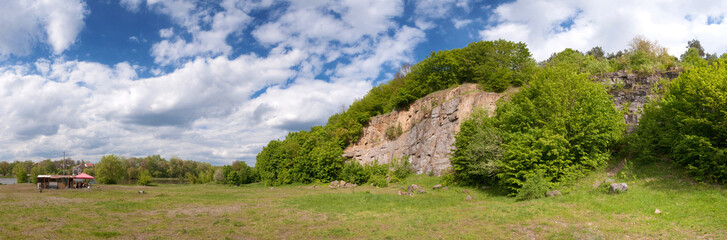 panoramic view of the rock with trees