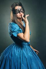 Beautiful woman with venetian mask