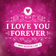 Valentine's Day I love YOU typography greeting card