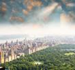 Beautiful sunset sky over Central Park, Manhattan, New York City