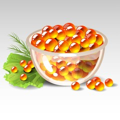 Dish with red caviar