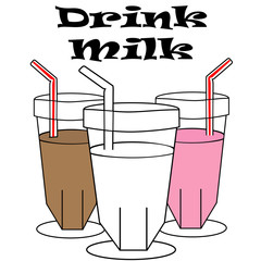 Drink Milk Sign with Regular, Strawberry & Chocolate Milks