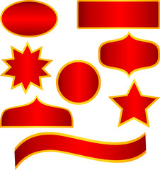 Red geometric stickers