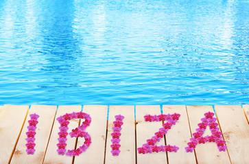 Ibiza vacation holidays background. Wooden bridge
