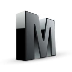 glossy black alphabet M