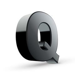 glossy black alphabet Q