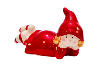 Christmas gnomes in red. The girl in the hood.