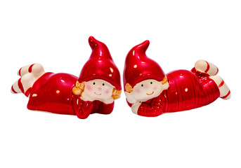 Christmas gnomes in red. Girl and boy.