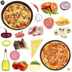 Tasty pizza and ingredients isolated on white