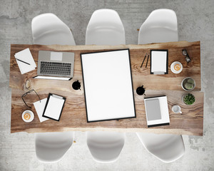 mock up meeting conference table, interior background