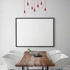 mock up poster frame in dining room, interior background
