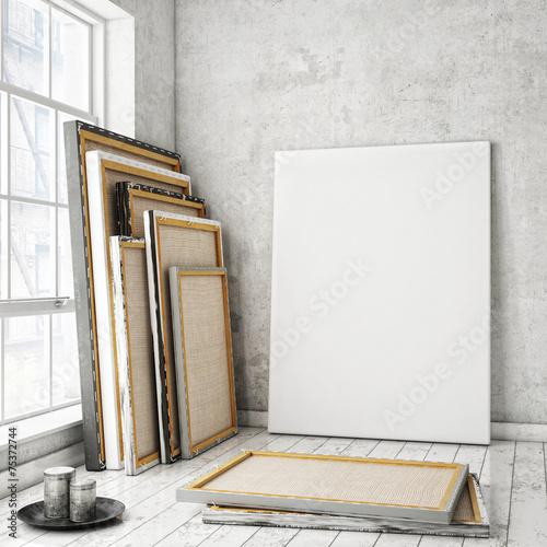 Leinwanddruck Bild mock up poster in white scandinavian interior, background