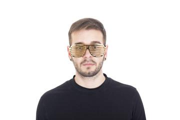 Handsome guy wearing gold glasses