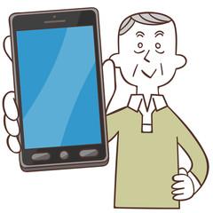 スマートフォンと年輩の男性