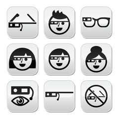 Google glass vector buttons set