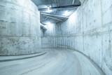 Spiral road to the underground mall garage.