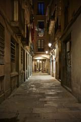 Empty street of Born quarter at night, Barcelona, Spain