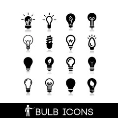 Light bulbs icons set 2