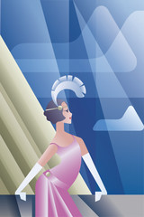 Roaring 20s poster with flappers day sky