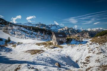 Ski slopes of Vogel, Triglav natural park, Slovenia, Europe.