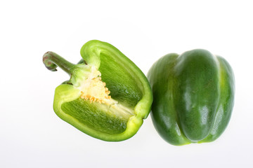 Green bell pepper cut in half