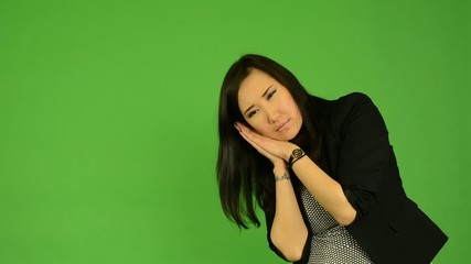asian woman oversleep and confused  - green screen
