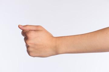 Linke Hand einer Frau