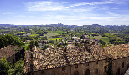 Monferrato hilly region, summer panorama. Color image