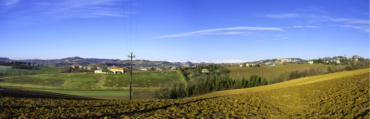 Monferrato hilly region, winter panorama. Color image