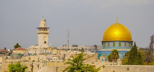 Dome of  Rock mosque on  Temple Mount in Jerusalem