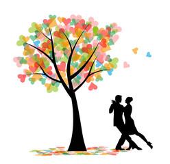 ballerini di tango e albero con cuori