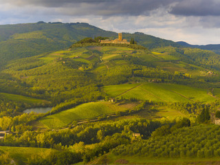 Vineyard covered hills of Chianti,Tuscany,Italy