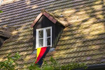 Deutschlandfahne eines Fussballfans, German flag of a fan of soc