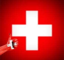 Flag of Switzerland on hand