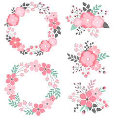 Floral wreath and bouquets