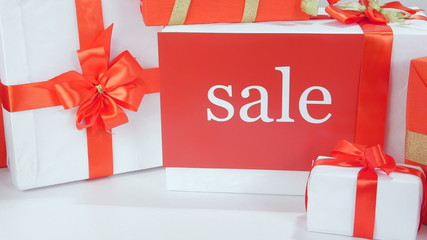 Christmas gift boxes with word Sale