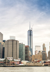 Lower Manhattan skyline over East River, New York City
