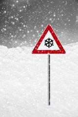 Verkehrsschild Schnee