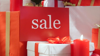 Christmas red white gift boxes with word Sale