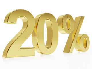 Photorealistic golden rendering of a symbol for 20 % discount