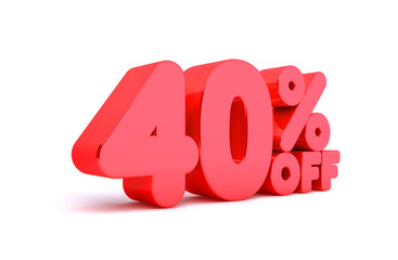 40% Off 3D Render Red Word Isolated in White Background
