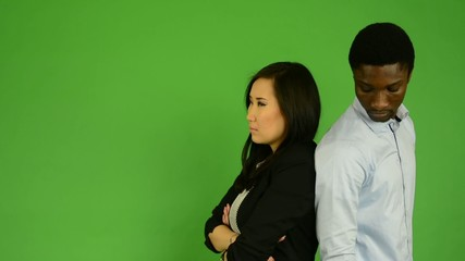 Unhappy couple are offended - green screen studio