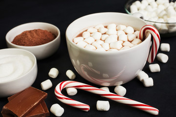 Hot Cocoa in White Mug with Marshmallows, Candy Cane , and ingre