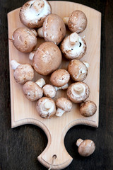 Raw mushrooms with brown hat