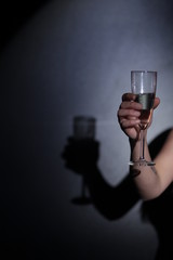 champagne glass hand shadow