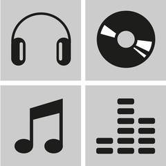Music icons set great for any use, Vector EPS10.