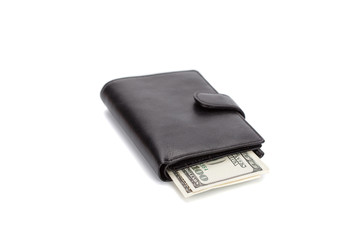 black leather wallet isolated on white